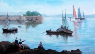 Bretonnes, enfant et bateaux d'après Guillou